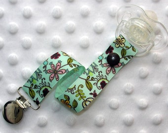 Blue Floral Pacifier Clip Soothie Gumdrop Holder
