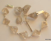 Sterling Silver Filigree Flower Bracelet and Brooch Lily