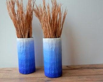 Pair of beachy vases / Blue ombre Vases / blue home decor / handcrafted vase / blue flower vase / cylinder vase