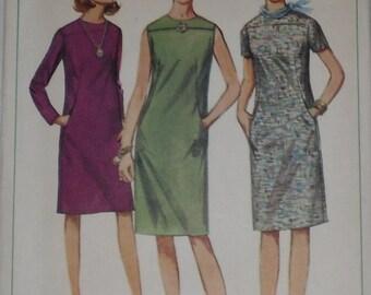 Vintage Simplicity Pattern 6724 Misses Classic Shift Dress with Slit Pockets 1966 Size 12 Bust 32