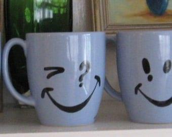 Smiley Face Mugs Crazy Eyes Blue Mugs High Kiln Fired Original SYMBOLEYES 6 Lot Retro Style Handmade original c.1987