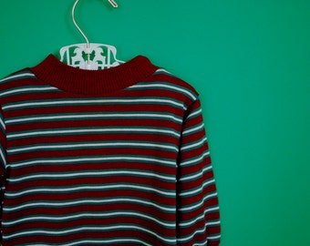 Vintage Toddler's Burgandy and Teal Striped Shirt- Size 9 or 12 Months