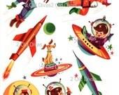 1950s Retro Rocket Kids Waterslide Decals Space Ship Decals