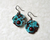 Turquoise chocolate freeform peyote seed beaded earrings multicolored. Art jewelry. Wedding, special occasion, prom