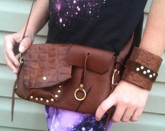 Brown Leather hip bag with alligator detail -secret pocket!