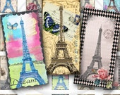 Eiffel Tower Digital Collage Sheet Instant Download 1 x 2 Domino Tile for glass pendants, stickers, jewelry