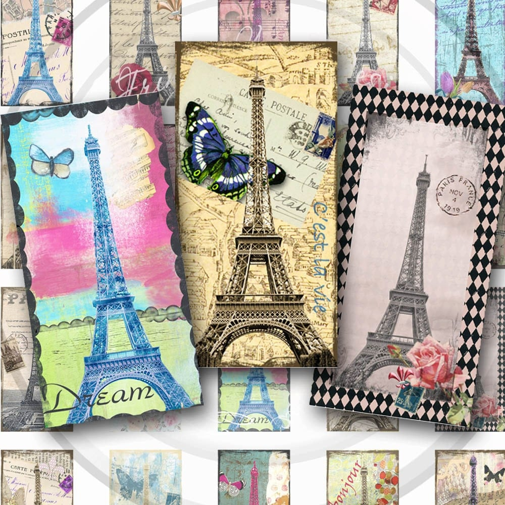 eiffel tower french digital collage sheet instant download 1 x 2 domino tile for glass pendants. Black Bedroom Furniture Sets. Home Design Ideas