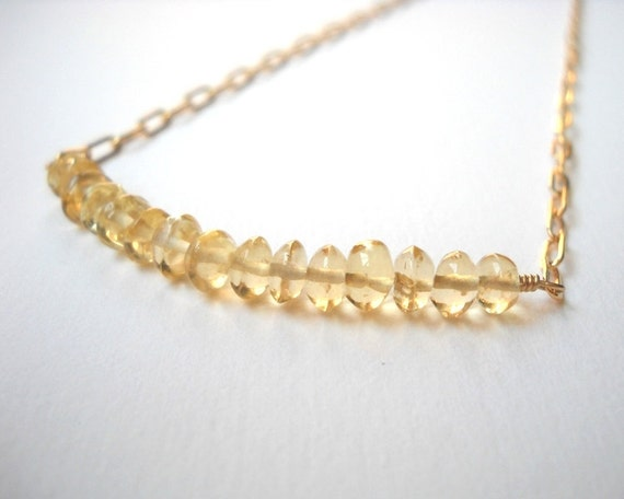 Citrine Bar Necklace - Gold Filled Beaded Pebble Row Necklace Sunflower Mustard Yellow