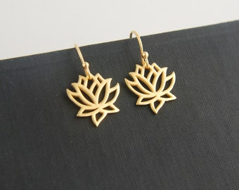 Gold lotus flower charm earrings, gold earrings, gold vermeil, simple earrings, lotus earrings