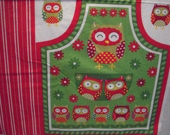 Kids Owl Christmas Apron Panel (322)