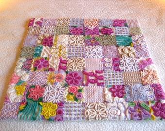 Custom Baby Quilt - Vintage Chenille - Purple Posies