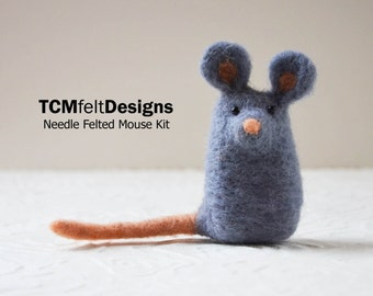 Needle Felting Mouse Kit, complete animal wool fiber kit for beginners