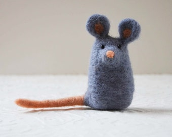 Mousekitts, needle felted animal fiber sculpture