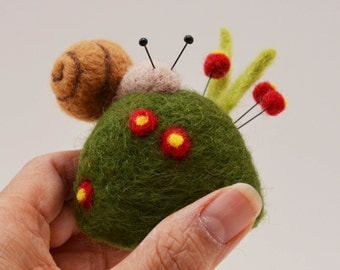 Snail on a Grassy Mound Pincushion, needle felted sculpture