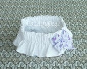 """Bridal Dog Scrunchie Collar with purple heart bow - L: 16"""" to 18"""" neck"""