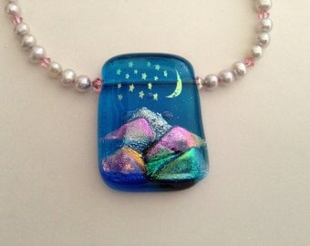 Dichroic glass pendant necklace - moon over the mountains
