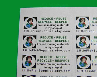 60 PERSONALIZED Go Green Labels. 2 Sheets of White 1-Inch Labels. 5298