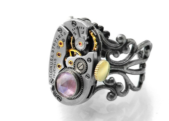 RESERVED for A. McK -Steampunk Ring, Light Amethyst Gemstone Ring / Vintage Watch Movement - Adjustable Ring