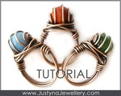 Wire Ring Tutorial, Wire Jewelry Pattern, Beading Ring Tutorial, Wire Wrapping Tutorial, Ring With Stone, Ring Making Instructions