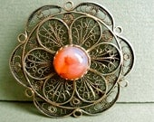 Vintage Brooch Pendant Agate Cabachon Sterling Filigree with Gold Wash, 925 Israel
