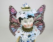 """Assemblage Art Doll """"Forget-Me-Not Blue"""" Fairy Doll, Assemblage Angel, Blue Angel Assemblage Doll"""