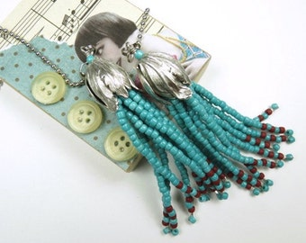Fan Chain Pair for Ceiling Fan or Lamp with Turquoise Beaded Fringe and Antiqued Silver Color Findings