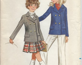 1960's Butterick Pattern No. 5574 : Girls Double Breasted Jacket Pleated Skirt and Pants Girls Size 12