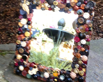 EarthToned Button Mirror 11x13 in Browns and Blacks ~ Retro Decor ~ Rustic Art ~ Unique Gift ~ Gift for Couple ~ Gift for Her ~ Shower Gift