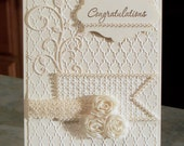 "Handmade Stampin' Up Congratulations Card, 4 1/4"" x 5 1/2"" - Heavily Embossed with Silk Roses & Pearls - Tone on Tone Anniversary or Wedding"