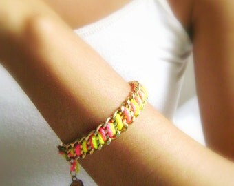 Neon chunky chain bracelet Standing out - trendy summer neon fuchsia yellow  golden chains bohemian bracelet
