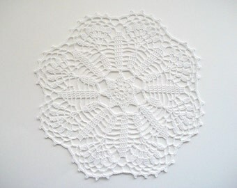 Crochet Doily White Cotton Star Like Center and Fan Edge with Picos Heirloom Quality