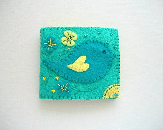 Emerald Needle Book with Turquoise Folk Art Bird Handsewn