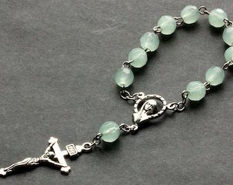 Aqua Green Pocket Rosary. Crystal Rosary. Aqua Green Rosary with Silver Accents. Handmade Rosary.