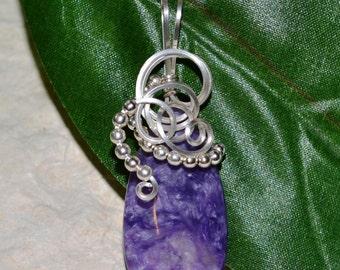 Charoite Pendant, Charoite Wire Wrapped Pendant, Charoite Jewelry, Silver Wire Wrapped Pendant