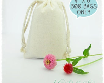 "300 Premium Muslin Bags 4""x6"" (High quality with double drawstring)"