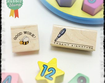 Good Work Rubber Stamp & Parent Signature Rubber Stamp (Teacher Rubber Stamps) 2 Woodblock Craft Stamps (B403 / D1886)