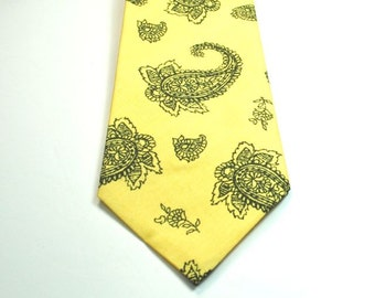 Yellow Neckties Yellow and Gray Paisley Neckties Wedding Neckties Yellow Paisley NecktieNeckties
