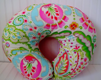 Ships Fast- Teja Kumari Garden with Pink Minky Boppy Cover