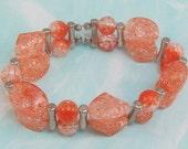 Stretch Bracelet Fire Orange Crackle Beaded Medium B-F2012-0038