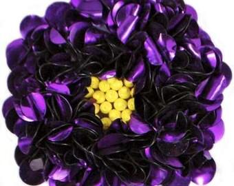 "E250 Purple Beaded Sequin Applique Flower 2.75"" (E250-PR)"