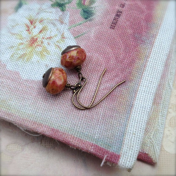 Small Drop Earrings Rustic Speckled Red and Gold Picasso Finish