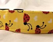 Cute Ladybugs on Bright Yellow Dog Collar