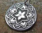 Mandala Fine Silver Charm PMC Focal Pendant with Sterling Silver Jump Ring -Flower of Hope-