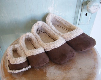 SALE Shoe Sewing Pattern. PDF Sewing Pattern.  Lambs Wool Loafers newborn to Women's size 11.  Slippers.