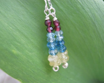 Sterling Silver Handmade Sapphire, Topaz, Zircon, Garnet Threader Dangle Earrings