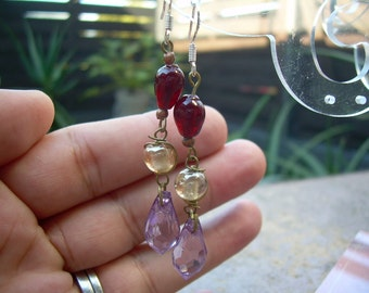 Hand Made Glass and Wire angle earrings with 925 hooks OOAK made with vintage  maroon,pink, yellow glass beads