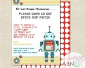 Robot Birthday Party Invitations - PRINTABLE - By A Blissful Nest