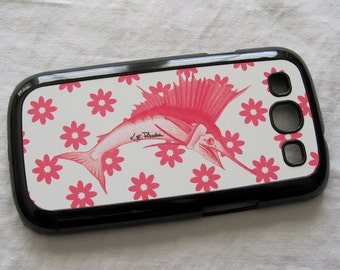 Pink Sailfish  with pink and white flowers Samsung Galaxy 3 case android smartphone