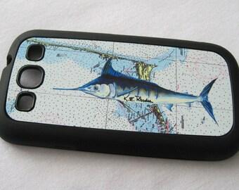 Marlin Hatteras NOAA Chart Samsung Galaxy 3 rubber case outer banks smartphone