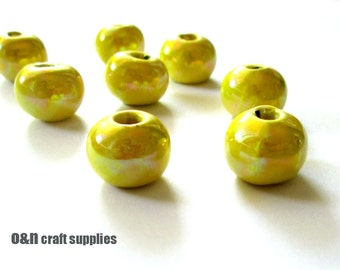 Round greek ceramic beads, enameled beads,  yellow, 12mm  - 8 pieces